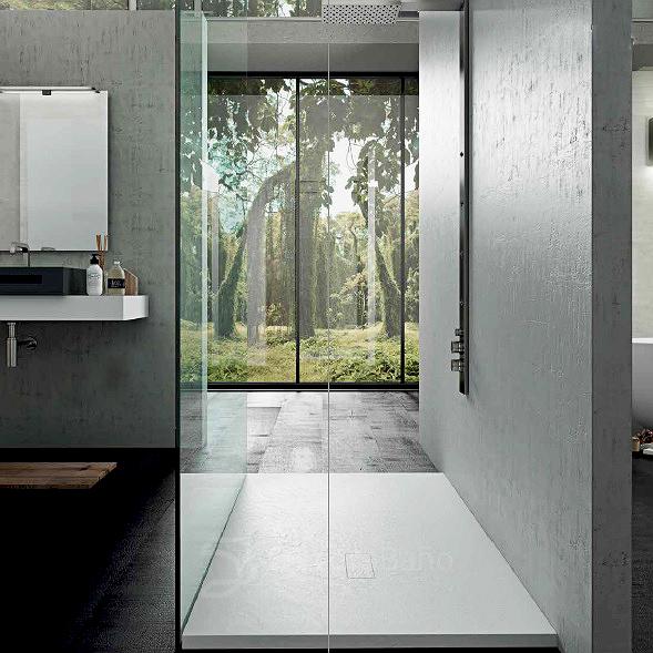 Plato de ducha blanco de solid surface