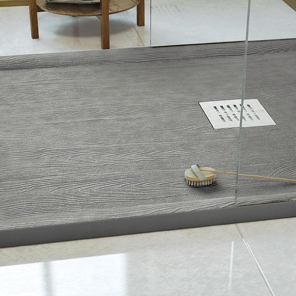 Plato de ducha con cerco que imita la madera