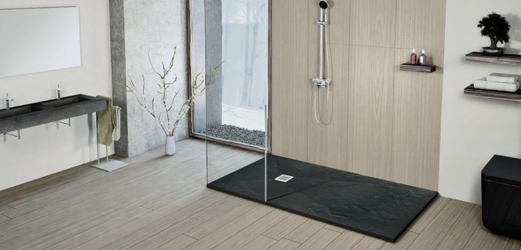 Plato de ducha de resinas y textura pizarra