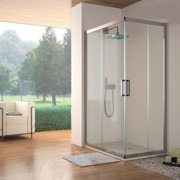 Angular de ducha con perfilería plata 300 de Kassandra