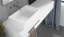 lavabo sobre encimera moderno con toallero integrado en color blanco