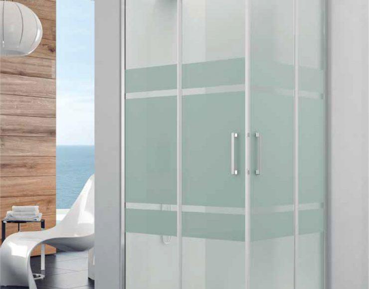 Mampara de ducha angular de apertura corredera y decorado