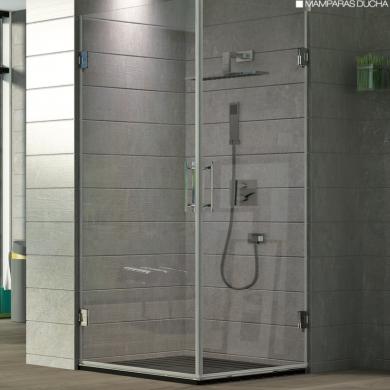 Angular de ducha de vidrio transparente y estilo minimalista
