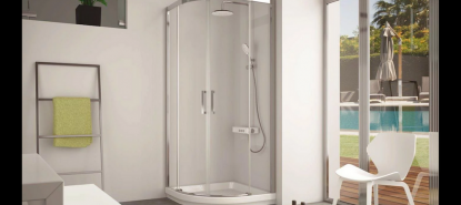 Mampara de ducha semicircular o curva de vidrio templado