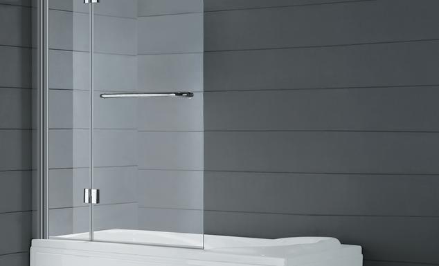 Hoja de bañera Glass de apertura plegable y tirador toallero