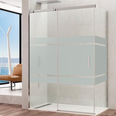 Frontal de ducha con serigrafía y perfiles de acero inoxidable
