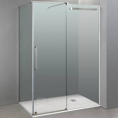Mampara de ducha Vetrum con perfil de acero y cristales transparentes