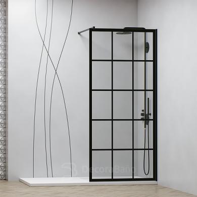 Mampara de ducha fija de estilo industrial con perfil negro