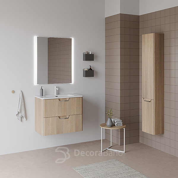 Mueble de baño Life suspendido 2 cajones, lavabo Beauty, espejo Due y columna Life de Royo. Color Roble Nórdico