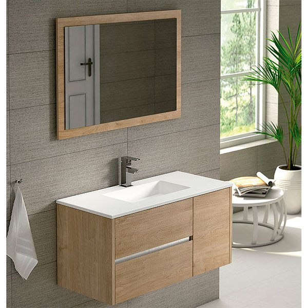 Mueble de baño Aries de  Coycama 100cm roble natural + lavabo Ambar solid surface 1 seno + espejo Tool 100x68cm