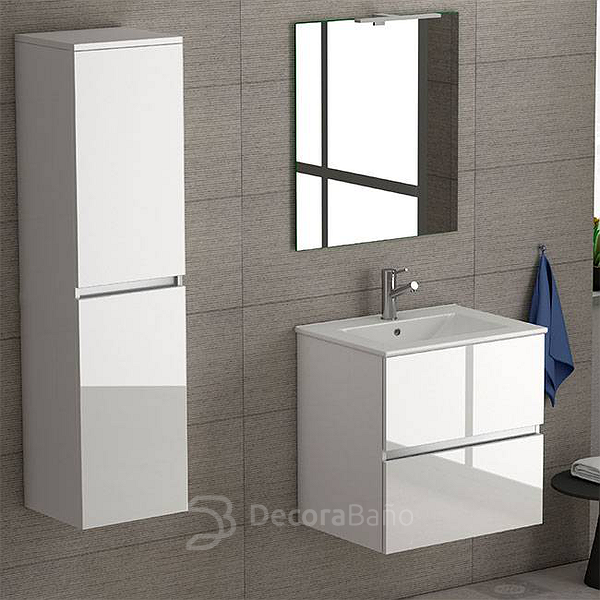 Mueble de baño Ikaro suspendido, espejo Cloud y columna de baño Look de Coycama. Color blanco brillo