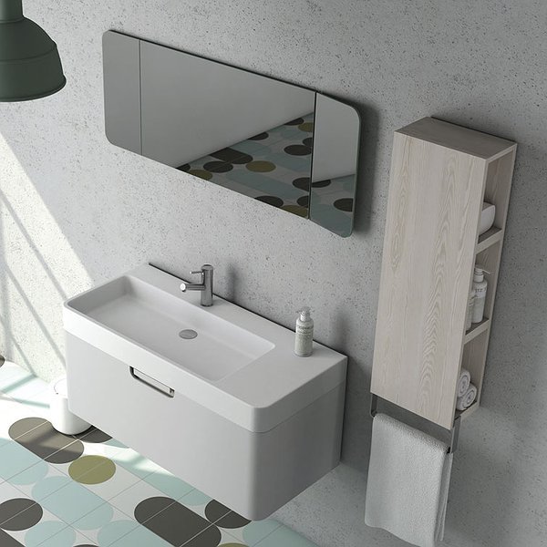Conjunto Mueble de baño Strip de Coycama gris suave mate + lavabo Strip + espejo Strip central + estantería  Strip con toallero